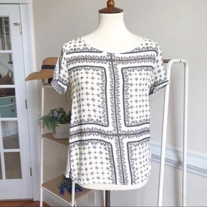 ZARA paisley print short sleeve blouse  large